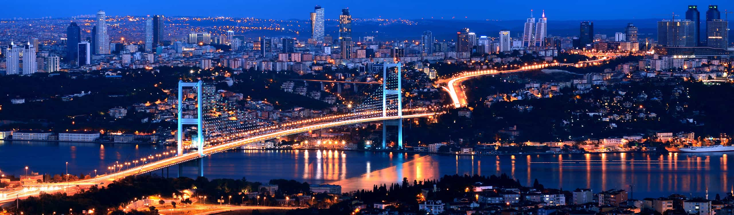 night view on the bridge in Istanbul, Turkey