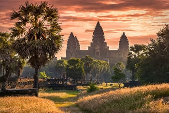 The View on the old palace of Angkor Wat in Cambodia